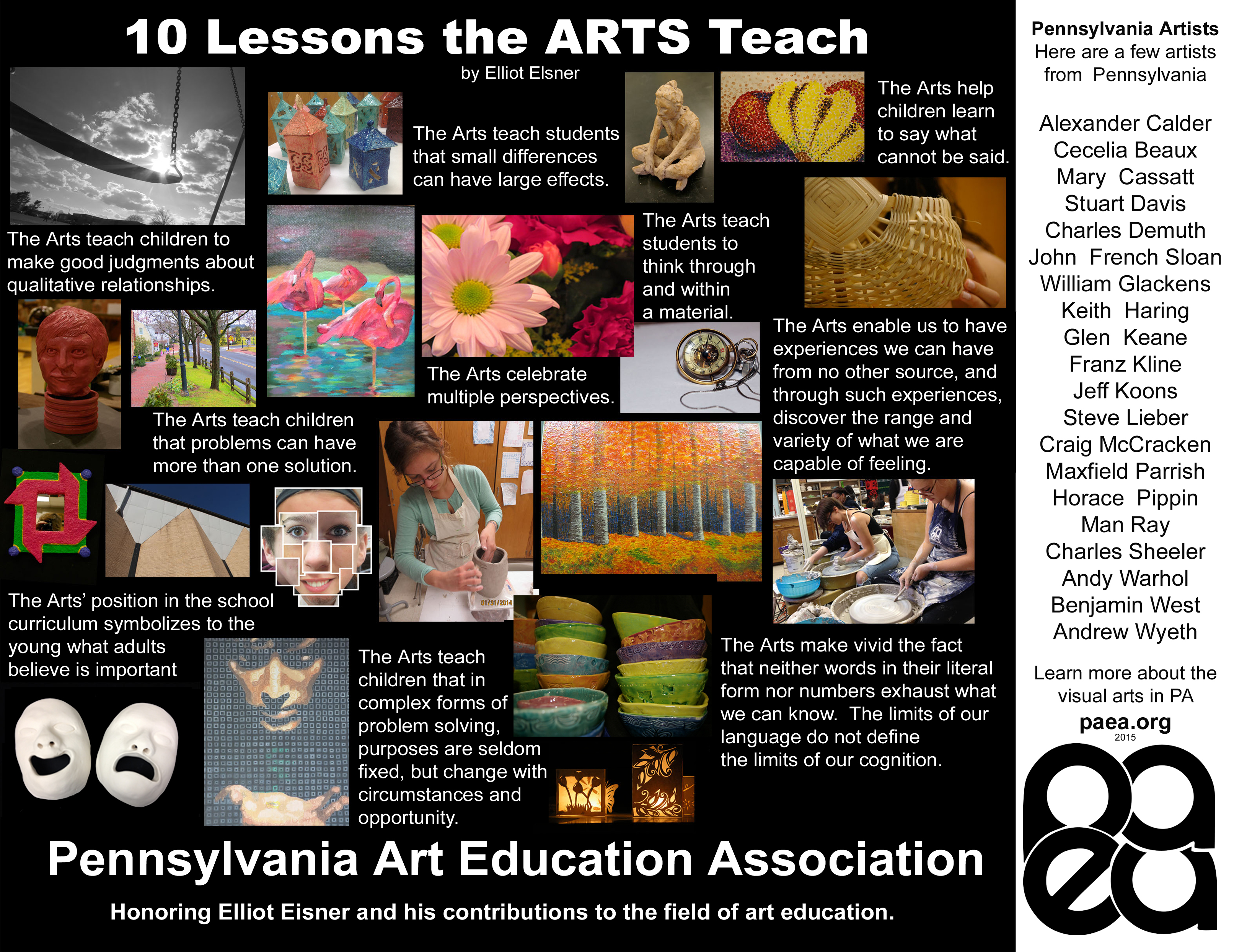Ten lessons  poster for PAEA with PA Artists